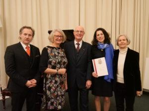 v.l. Prof.Wycik; Martina Damm;H.Karmeier; Marie Jaquot; Gerhild v.Schuch